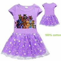 2019Gift Five nights at Freddy Kid Girl Short Sleeve Skirt Party Beach Dress NEW