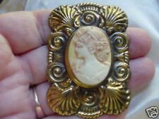 CS70-1 Simple left face WOMAN yellow CAMEO jewelry Pin Brooch jewelry pine resin