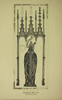 1891 ANTIQUE PRINT MONUMENTAL BRASS RUBBING JOHN ESTNEY ABBOT WESTMINSTER ABBEY