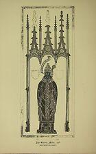 1891 Antiguo impresión monumental de Museo Brass Rubbing John estney Abad Westminster Abbey