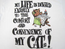 ULTRA SOFT 1986 vtg MY LIFE IS DEVOTED TO MY CAT funny T SHIRT 50/50 MEDIUM tstm