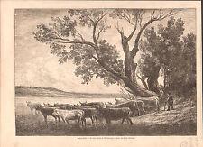Beaux-Arts Le Gué de Charles-François Daubigny/Vache Cows GRAVURE OLD PRINT 1865