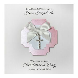Handmade PERSONALISED Christening Card - Diamanté Cross Charm Girl