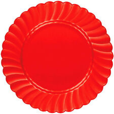 Festive Red Premium Plastic Scalloped Luncheon Plates 12ct-7.5 in.
