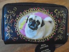 "NEW   BLACK LEATHER  "" PUG "" PICTURE PURSE/WALLET"