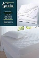 LUXURY FITTED / STRAPPED QUILTED MATTRESS PROTECTOR BED COVER ANTI ALLERGY SIZES