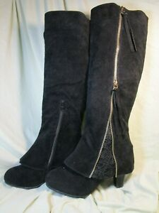 HEELED BLACK SUEDE RIDING/BIKER BOOTS WITH ZIPPERS AND LACE  SZ41 US SZ10.5