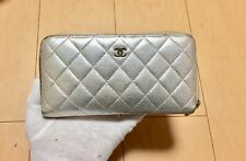 CHANEL Authentic CC Logos Quilted Long  Wallet Purse Lamb Leather