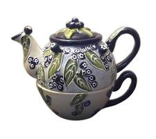 """Tea-For-One BLUEBERRY Hand-Painted Ceramic Teapot, by Blue Sky Ceramics, 6"""" Tall"""