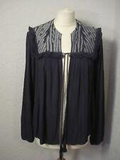 BNWOT Maison de Nimes blue & grey embroidered yoke boho jacket 10