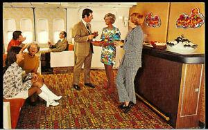 1960's Continental Airlines Ponape Lounge Bar Super Rare Vintage Postcard