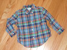 Nwt - Ralph Lauren long sleeved green & navy button down shirt - 24 mos boys