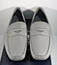 NIB Prada Mens Gray Saffiano Leather Logo Penny Driver Loafers Slip-on Shoes 12