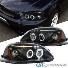 Fit Honda 96-98 Civic 2/3/4Dr LED Halo Projector Headlights Lamps Black Pair