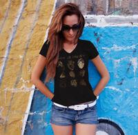 ALICE IN CHAINS HEARTS Women Black V-neck T-shirt Metal Tee Grunge Shirt