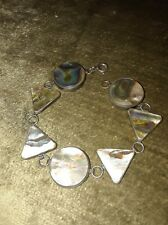 Beautiful Vintage Taxco, Mexico Sterling Silver Abalone Link Bracelet