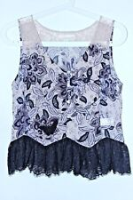 Odd Molly Sleeveless Button Down Embroidered Silk Blouse Lace Size 1 / S