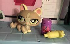 LITTLEST PET SHOP CAT KITTY TABBY CROUCHING TAN & CREAM w GREEN EYES Lps