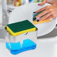 2 in1 Kitchen Liquid Soap Pump Dispenser ABS Sponge Holder Press Countertop Rack