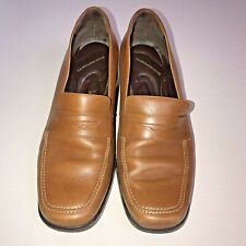 Rockport Comfort By DMX Women's Block Heel  Penny Loafer Brown Leather Size 8.5W