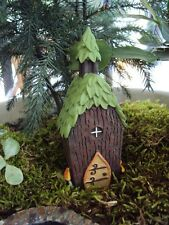 "MINIATURE GARDEN ""FAIRY TREE HOUSE WITH LEAF ROOF"" NEW, TERRARIUM, DOLLHOUSE"