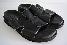 DONALD J PLINER Mens Size 12 Black LEATHER SANDALS Slides Designer SPAIN #cm