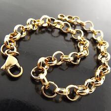 BRACELET BANGLE GENUINE REAL 18K YELLOW G/F GOLD SOLID BELCHER CHARM LINK DESIGN