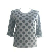 Coldwater Creek Sweater Top M 10 12 Gray Black Polka Dot Stretch 3/4 Sl Hi Low