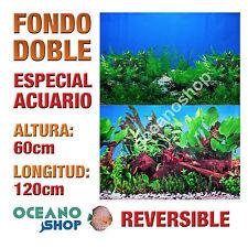 FONDO 120x60cm DOBLE CARA REVERSIBLE DECORATIVO ACUARIO MAR Y ALGAS D403