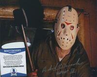 RICHARD BROOKER FRIDAY THE 13TH PART 3 SIGNED  8X10 JASON PHOTO BAS BECKETT COA