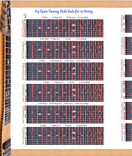 E9TH TUNING SLIDE RULE POSTER FOR 10 STRING STEEL GUITAR - LAP PEDAL CHART