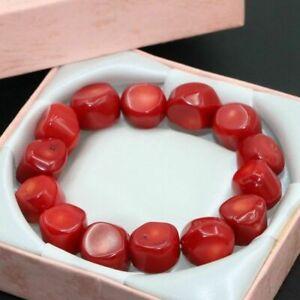 Genuine 9-13mm Natural Red Coral Irregular Gemstone Beads Bracelet 7.5'' AAA+