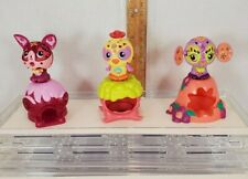Zoobles Spring to Life Pink cat, yellow bird, orange dog? with habitats Used