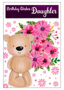 Happy Birthday Wishes Card For Daughter, Cute Bear With Flowers, Pink Glitter