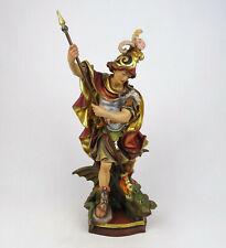 Religiöse Holzfigur Hl. Georg der Drachentöter, geschnitzt alpenländisch