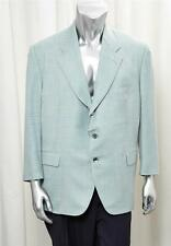 HOUSE OF BIJAN Mens Mint-Blue Yellow Plaid Cashmere 3-Button Blazer Jacket 48