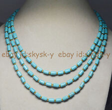"3 Rows Natural 6x9mm Blue Turquoise Barrel Gems Beads Necklaces 18-20"" AA"
