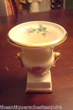 """French Urn, unmarked, roses and gold, 4"""" tall[*7i]"""