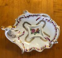 Vintage IW Rice Ceramic Trinket Dish White Flowers Gold Trim Japan