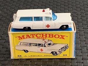 "Matchbox #54 CADILLAC ""S&S"" AMBULANCE NEW in Orig. Box 1966-1969"