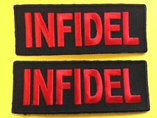 INFIDEL morale biker patch fun gift red letters on black novelty you get 2 #959