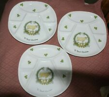 3 fondue plates D'AUTEUIL porcelaine Paris France, Le Boeuf Charolais