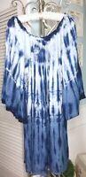 NEW ~ Plus Size 3X 2X Blue Denim Tie Dye Bell Sleeve Peasant Dress