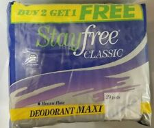 3 Pack Stayfree Classic Deordorant Maxi 24 Pads Per Pack, Vintage, New