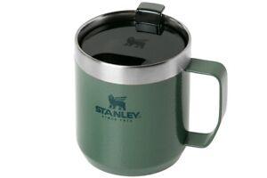 STANLEY THE LEGENDARY CAMP MUG 120z HAMMERTONE GREEN. COFFEE TEA CUP