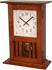 Mission Mantle Clock Amish Made Solid Oak Wood Pendulum Movement!