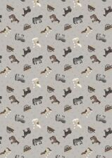 Small Things Farm Horses Grey Cotton Quilting Sewing Fabric