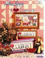 Alma Lynne I HEART Love COUNTRY Booklet for Counted Cross Stitch ALX-118