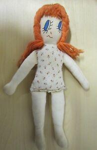 "Vintage 19"" cloth girl, orange yarn hair & painted face - GC"