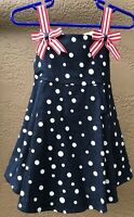 Bonnie Baby Girls Size 18 Month Patriotic Polka-Dots Dress Red White Blue